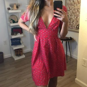PrettyLittleThing Red Flare Dress w/Shell Graphics